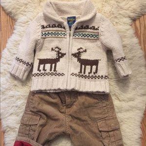OshKosh Zip Reindeer Sweater and Cords 3-6 months